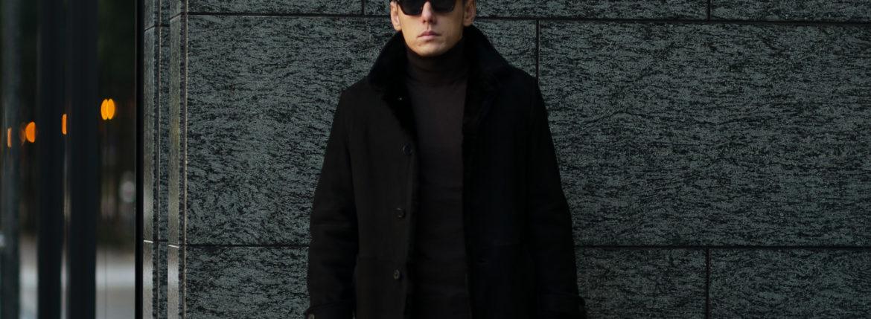 EMMETI (エンメティ) NAT (ナット) Merino Mouton (メリノ ムートン) シングル ムートンコート NERO (ブラック) Made in italy (イタリア製) 2019 秋冬新作のイメージ