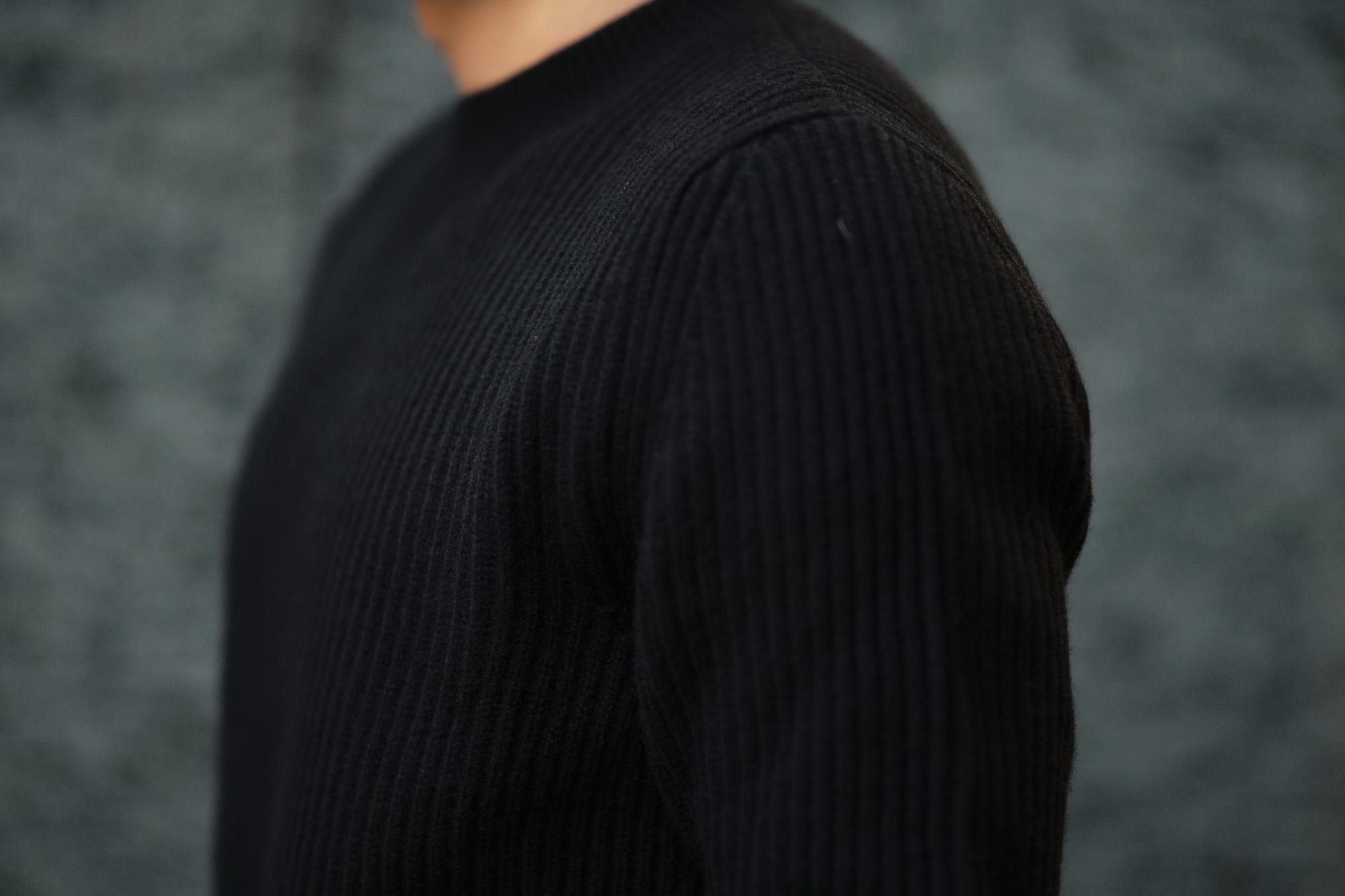 LAMBERTO LOSANI (ランベルト ロザーニ) Cashmere Crew Neck Sweater (カシミア クルーネック セーター) ローゲージ カシミアニット セーター BLACK (ブラック・0901) made in italy (イタリア製) 2019 秋冬新作 lambertolosani ランベルトロザーニ 愛知 名古屋 altoediritto アルトエデリット