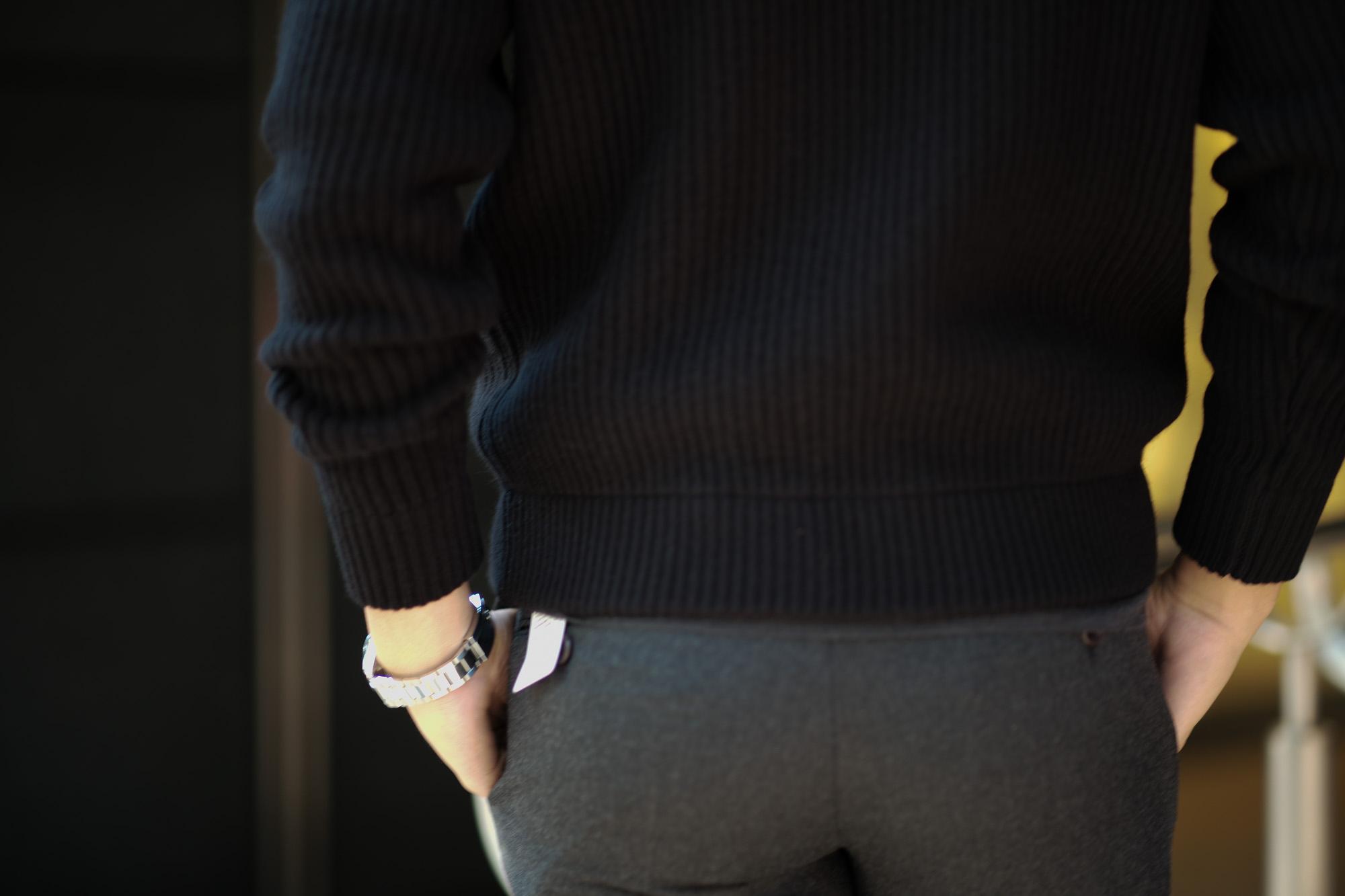LAMBERTO LOSANI (ランベルト ロザーニ) Cashmere Zip Up Cardigan (カシミア ジップアップ カーディガン) ローゲージ カシミアニット カーディガン BLACK (ブラック・901) made in italy (イタリア製) 2019 秋冬新作 lambertolosani ランベルトロザーニ 愛知 名古屋 altoediritto アルトエデリット