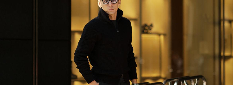 LAMBERTO LOSANI (ランベルト ロザーニ) Cashmere Zip Up Cardigan (カシミア ジップアップ カーディガン) ローゲージ カシミアニット カーディガン BLACK (ブラック・901) made in italy (イタリア製) 2019 秋冬新作のイメージ