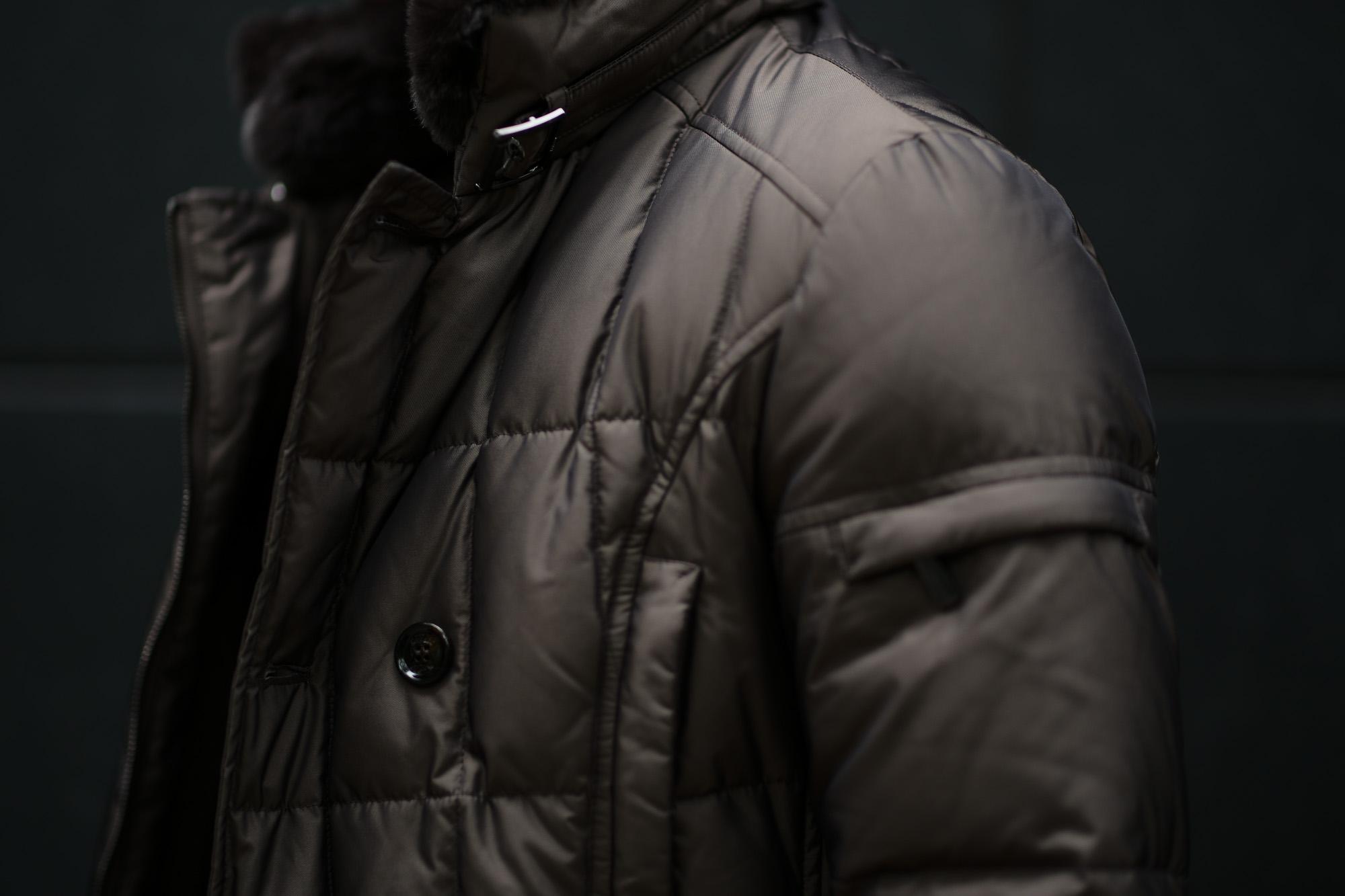 MOORER (ムーレー)MORRIS-KM2 (モーリス) ホワイトグースダウン ナイロン ダブルブレスト ダウン コート MARMOTTA(ブラウン)  Made in italy (イタリア製) 2019 秋冬新作 愛知 名古屋 altoediritto アルトエデリット ダウンジャケット
