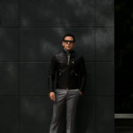 CINQUANTA(チンクアンタ) H502 STAND COLLAR RIDERS (スタンド カラー ジャケット) NAPPA LEATHER ナッパレザー シングル ライダース ジャケット BLACK GOLD (ブラック ゴールド・999) Made in italy (イタリア製) 2019 秋冬新作のイメージ