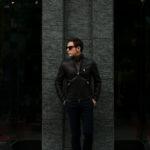 CINQUANTA(チンクアンタ) H502 STAND COLLAR RIDERS (スタンド カラー ジャケット) NAPPA LEATHER ナッパレザー シングル ライダース ジャケット BLACK SILVER (ブラック シルバー・999) Made in italy (イタリア製) 2019 秋冬新作のイメージ