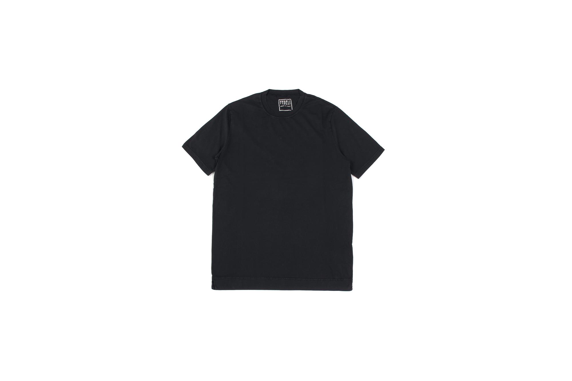 FEDELI(フェデーリ) Crew Neck T-shirt (クルーネック Tシャツ) ギザコットン Tシャツ BLACK (ブラック・36) made in italy (イタリア製) 2020 春夏 【ご予約開始】愛知 名古屋 altoediritto アルトエデリット TEE