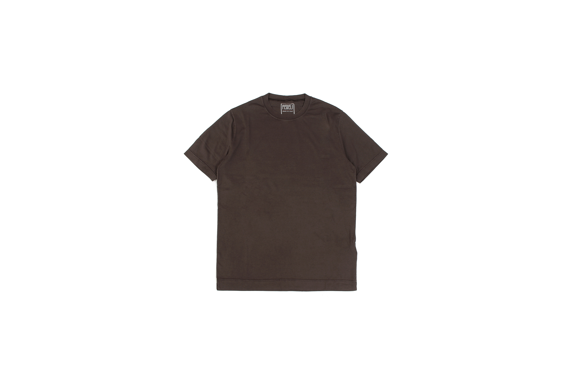 FEDELI(フェデーリ) Crew Neck T-shirt (クルーネック Tシャツ) ギザコットン Tシャツ BROWN (ブラウン・811) made in italy (イタリア製) 2020 春夏 【ご予約開始】愛知 名古屋 altoediritto アルトエデリット TEE