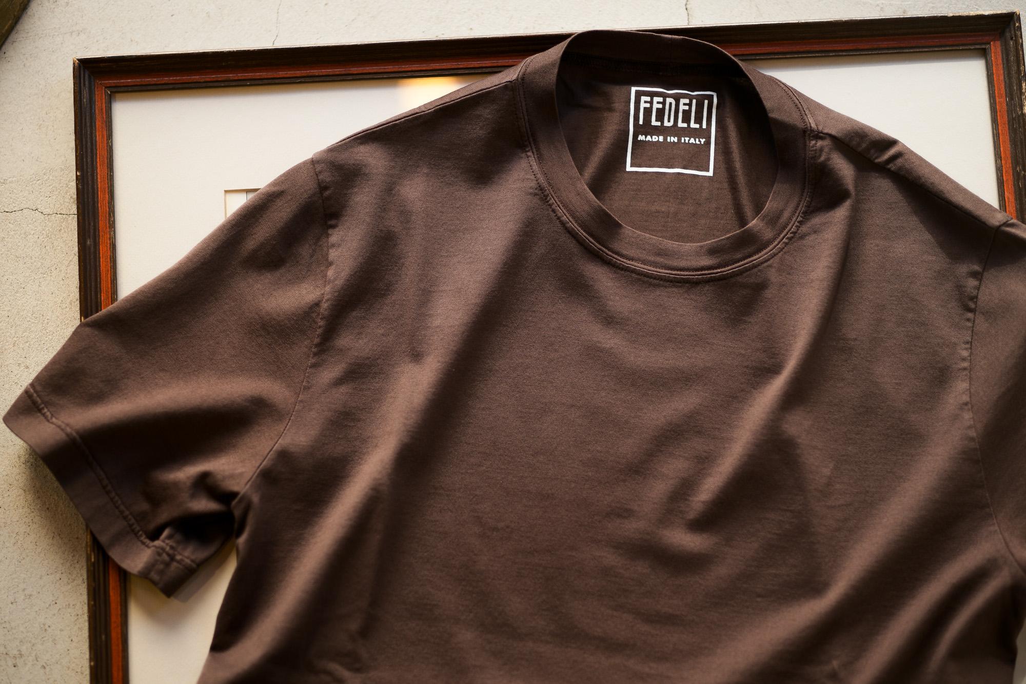 FEDELI(フェデーリ) Crew Neck T-shirt (クルーネック Tシャツ) ギザコットン Tシャツ BROWN (ブラウン・811) made in italy (イタリア製) 2020 春夏 【ご予約受付中】愛知 名古屋 altoediritto アルトエデリット TEE