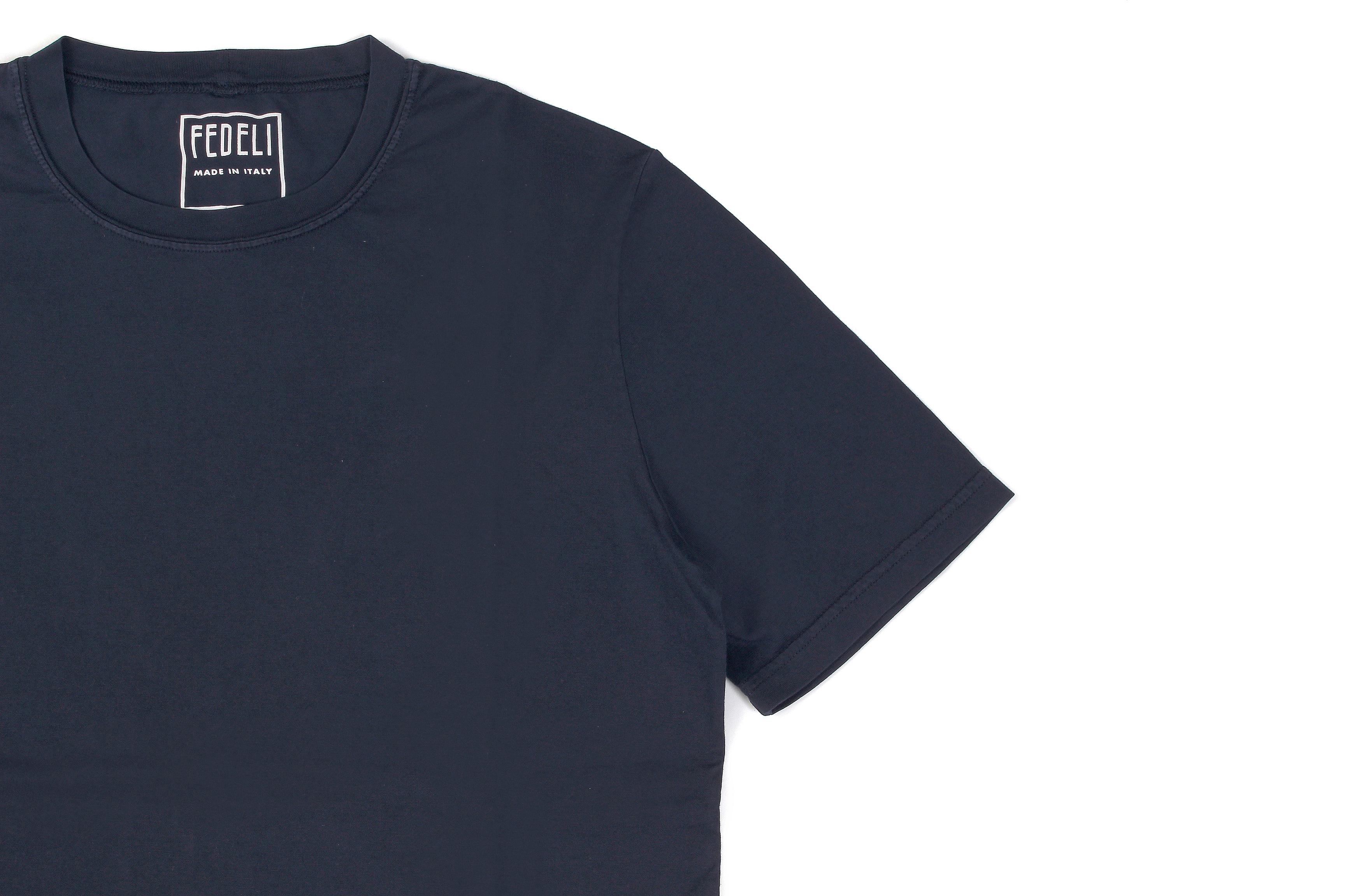 FEDELI(フェデーリ) Crew Neck T-shirt (クルーネック Tシャツ) ギザコットン Tシャツ NAVY (ネイビー・628) made in italy (イタリア製) 2020 春夏 【ご予約開始】愛知 名古屋 altoediritto アルトエデリット TEE