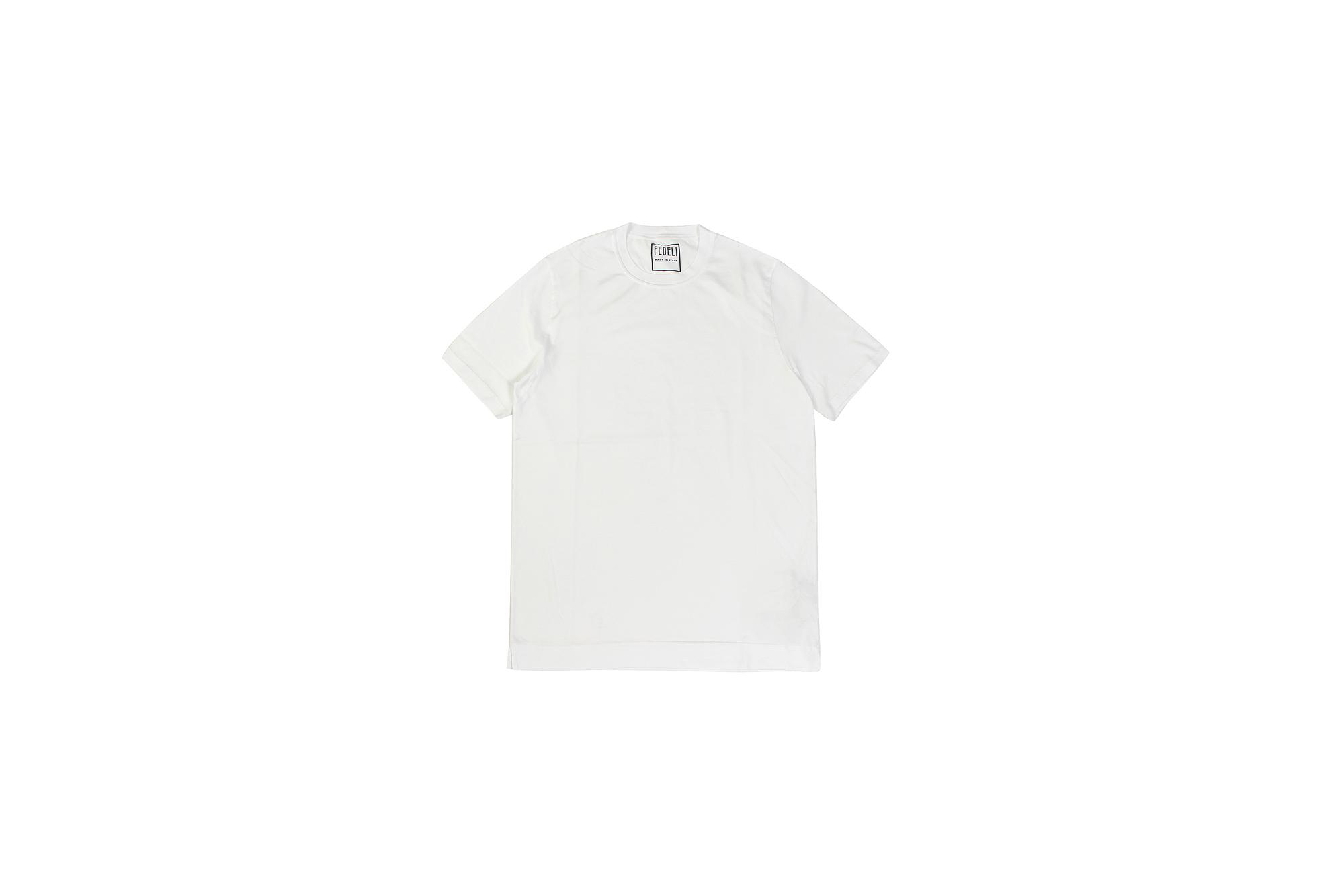 FEDELI(フェデーリ) Crew Neck T-shirt (クルーネック Tシャツ) ギザコットン Tシャツ WHITE (ホワイト・41) made in italy (イタリア製) 2020 春夏 【ご予約開始】愛知 名古屋 altoediritto アルトエデリット TEE