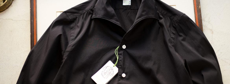 Finamore (フィナモレ) SEUL ITALIAN COLOR STRETCH COTTON SHIRTS ストレッチコットン ワンピースカラー シャツ BLACK (ブラック) made in italy (イタリア製) 2020 春夏新作  【第1便入荷しました】【フリー分発売開始】のイメージ