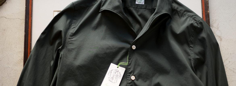 Finamore (フィナモレ) SEUL ITALIAN COLOR STRETCH COTTON SHIRTS ストレッチコットン ワンピースカラー シャツ OLIVE (オリーブ) made in italy (イタリア製) 2020 春夏新作  【第1便入荷しました】【フリー分発売開始】のイメージ