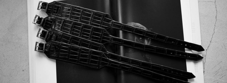 FIXER(フィクサー) CROCODILE LEATHER BRACELET 925 STERLING SILVER(925 スターリングシルバー) クロコダイル レザー ブレスレット BLACK (ブラック) 【発売開始します】のイメージ