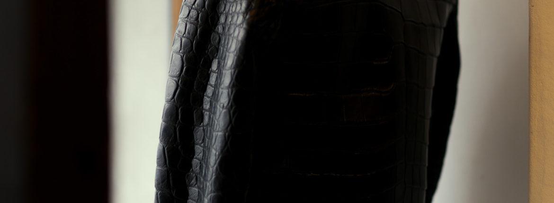 Georges de Patricia (ジョルジュ ド パトリシア) Huracan Porosus Crocodile(ウラカン ポロサス クロコダイル) 925 STERLING SILVER (925 スターリングシルバー) Porosus Crocodile ポロサス クロコダイル エキゾチックレザー ダブルライダース ジャケット NOIR (ブラック) 2020 【Special Model】【ご予約受付中】のイメージ