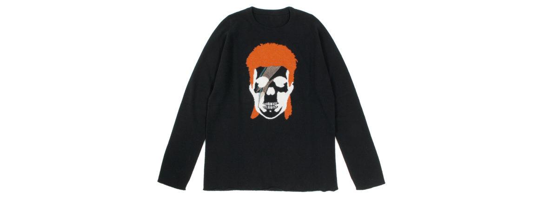 lucien pellat-finet(ルシアン ペラフィネ) David Bowie Skull Cashmere Sweater (デヴィッド ボウイ スカル カシミア セーター) インターシャ カシミア スカル セーター BLACK × NIVEOUS (ブラック × ホワイト)のイメージ