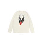 lucien pellat-finet (ルシアン ペラフィネ) Skull Tongue Cashmere Sweater (スカル タン カシミア セーター) インターシャ カシミア スカル セーター NIVEOUS × BLACK (ホワイト × ブラック) made in scotland (スコットランド製)のイメージ