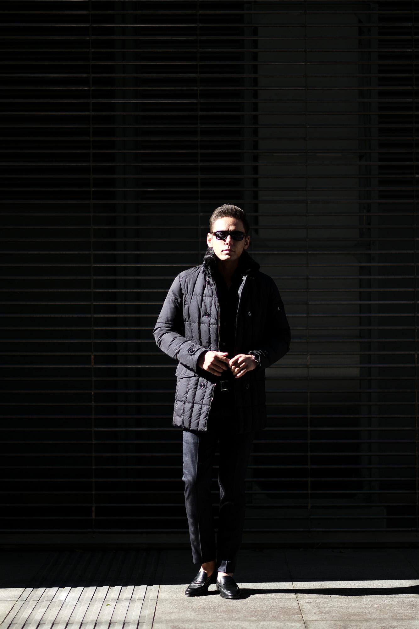 MOORER (ムーレー)MORRIS-KM2 (モーリス) ホワイトグースダウン ナイロン ダブルブレスト ダウン コート NERO(ブラック)  Made in italy (イタリア製) 2019 秋冬新作 愛知 名古屋 altoediritto アルトエデリット ダウンジャケット