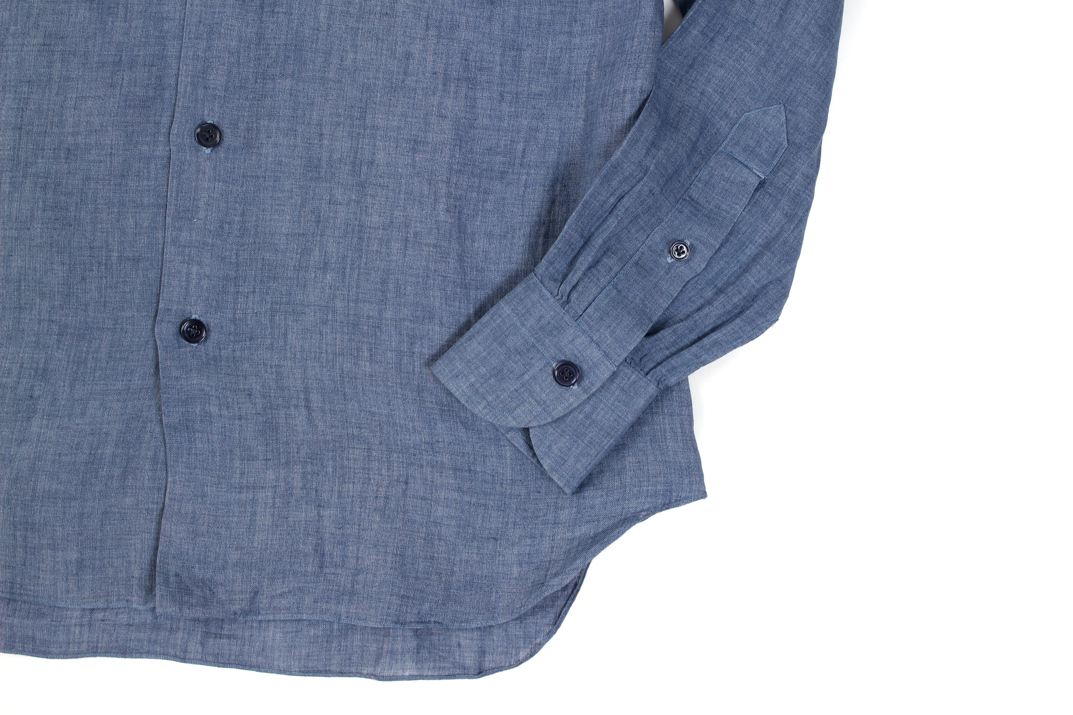 AVINO Laboratorio Napoletano(アヴィーノ・ラボラトリオ・ナポレターノ) Linen Dress Shirts (リネン ドレス シャツ) リネン100% ワイドカラー シャツ BLUE (ブルー) made in italy (イタリア製) 2020 春夏 【ご予約開始】 愛知 名古屋 altoediritto アルトエデリット リネンシャツ
