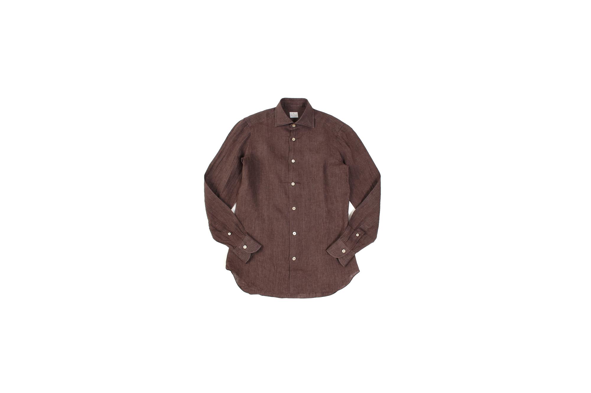 AVINO Laboratorio Napoletano(アヴィーノ・ラボラトリオ・ナポレターノ) Linen Dress Shirts (リネン ドレス シャツ) リネン100% ワイドカラー シャツ BROWN (ブラウン) made in italy (イタリア製) 2020 春夏 【ご予約開始】 愛知 名古屋 altoediritto アルトエデリット リネンシャツ