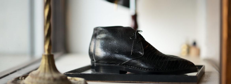ENZO BONAFE (エンツォボナフェ) ART.3722 Chukka boots TEJUS (テジュー) リザードレザー チャッカブーツ TEJUS NERO (ブラック) made in italy (イタリア製) 2020 enzobonafe ボナフェ ブーツ チャッカ 愛知 名古屋 Alto e Diritto アルト エ デリット リザード