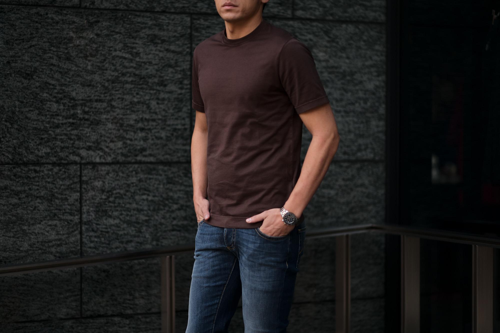 FEDELI(フェデーリ) Crew Neck T-shirt (クルーネック Tシャツ) ギザコットン Tシャツ BROWN (ブラウン・811) made in italy (イタリア製) 2020 春夏 【ご予約受付中】 愛知 名古屋 altoediritto アルトエデリット TEE