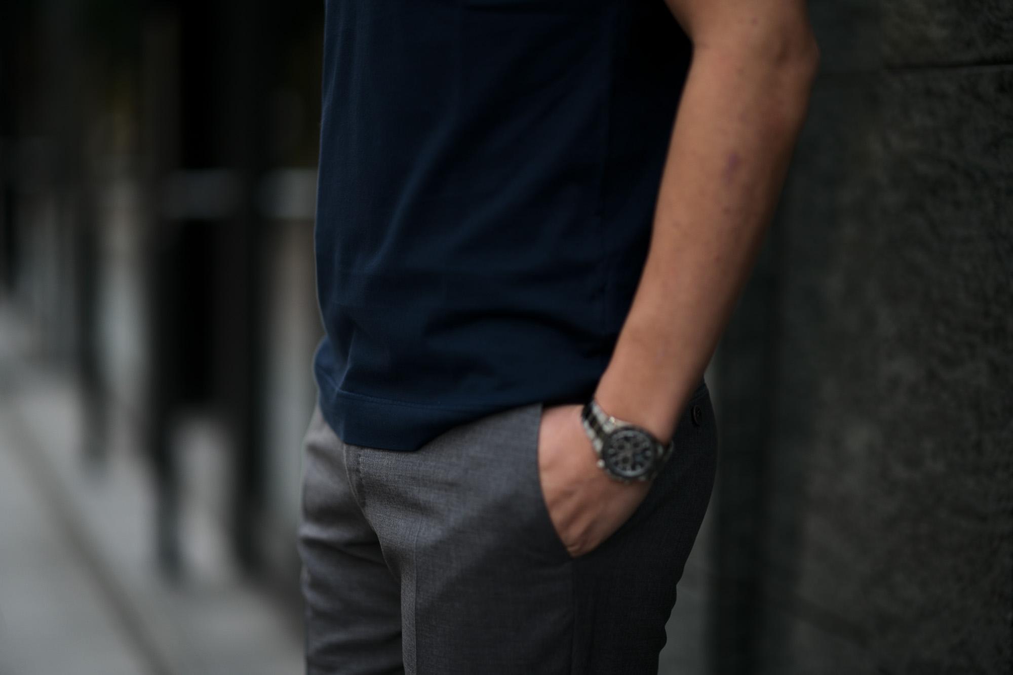 FEDELI(フェデーリ) Crew Neck T-shirt (クルーネック Tシャツ) ギザコットン Tシャツ NAVY (ネイビー・626) made in italy (イタリア製) 2020 春夏 【ご予約受付中】愛知 名古屋 altoediritto アルトエデリット TEE
