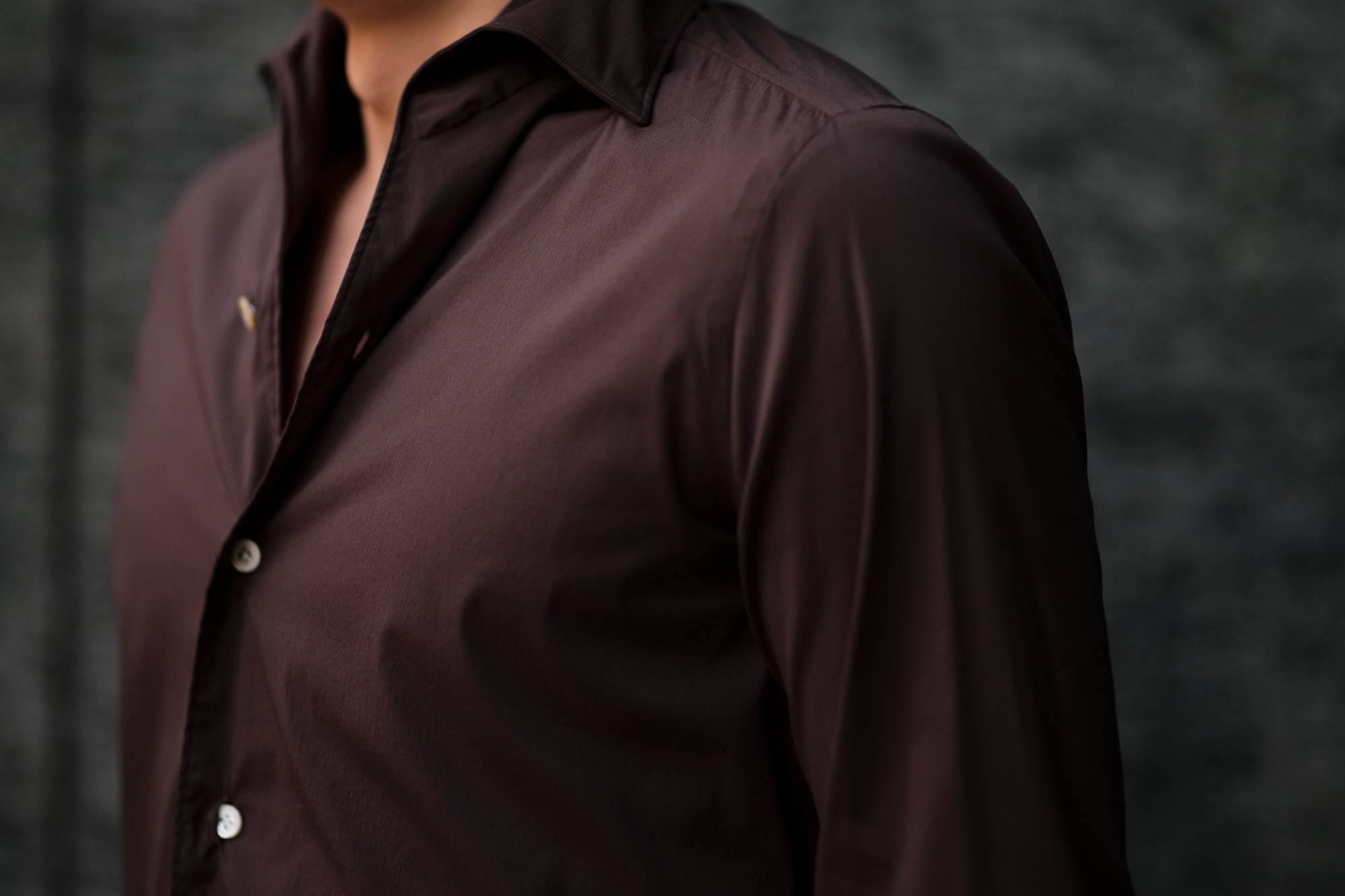 Finamore (フィナモレ) SEUL ITALIAN COLOR STRETCH COTTON SHIRTS ストレッチコットン ワンピースカラー シャツ BROWN (ブラウン) made in italy (イタリア製) 2020 春夏新作 愛知 名古屋 altoediritto アルトエデリット シャツ