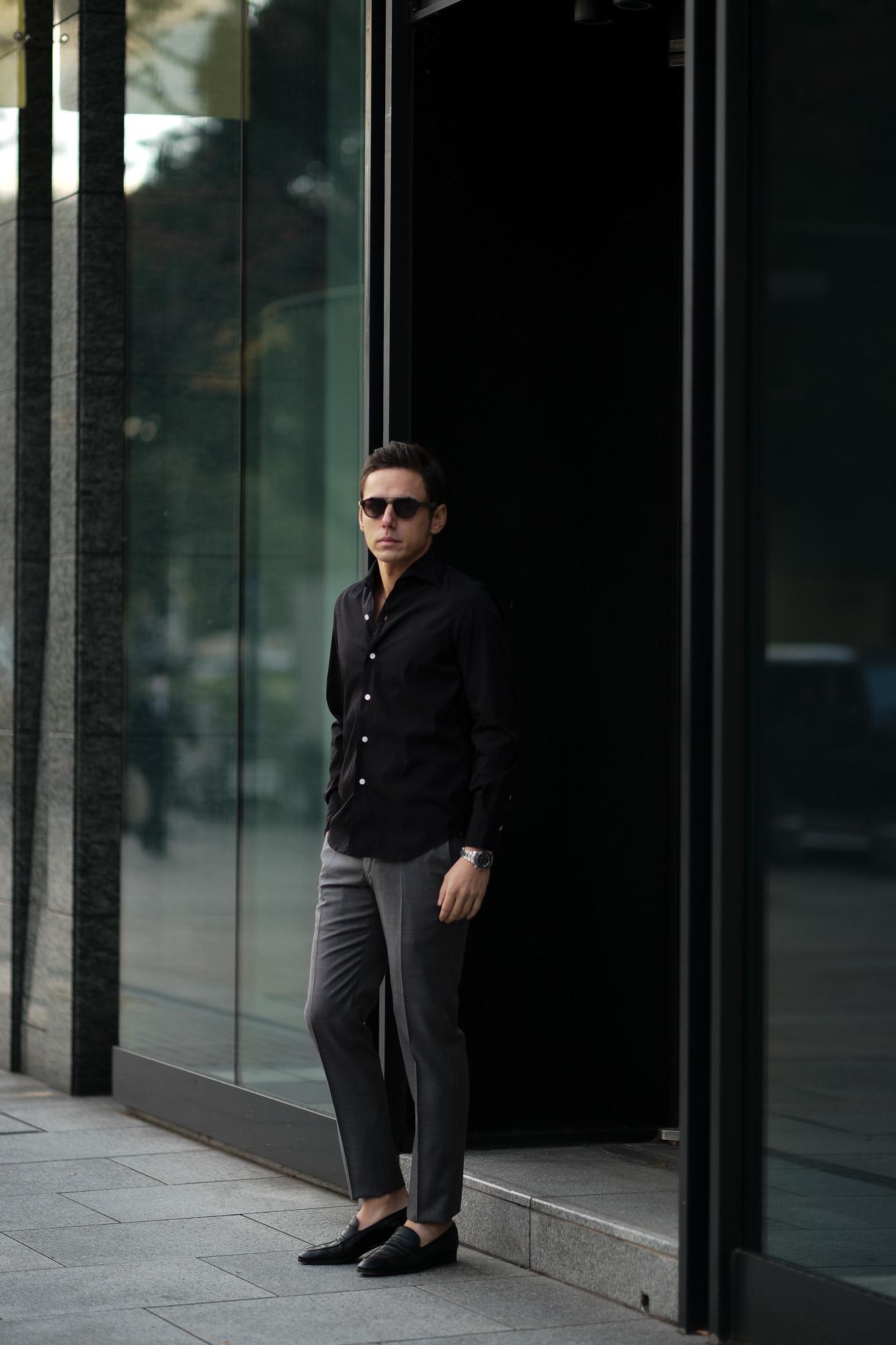 Finamore (フィナモレ) SEUL ITALIAN COLOR STRETCH COTTON SHIRTS ストレッチコットン ワンピースカラー シャツ BLACK (ブラック) made in italy (イタリア製) 2020 春夏新作  愛知 名古屋 altoediritto アルトエデリット シャツ