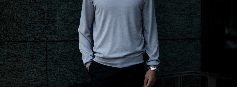 """MANRICO CASHMERE """"Silk Cashmere Wool"""" Crew Neck Sweater M050 0000 BLACK(ブラック),SNOW WHITE(スノーホワイト),DRESS BLUES(ドレスブルー),ROYAL BLUE(ロイヤルブルー),SABLE(グレージュ),GREY STONE(ダークグレー),AZTEC(ブラウン),CAMEL(キャメル),KOMBU GREEN(グリーン),YELLOW(イエロー),GRENADINE(オレンジ),HIGH RISK RED(ハイリスクレッド) MADE IN ITALY(イタリア製) 2020AWのイメージ"""