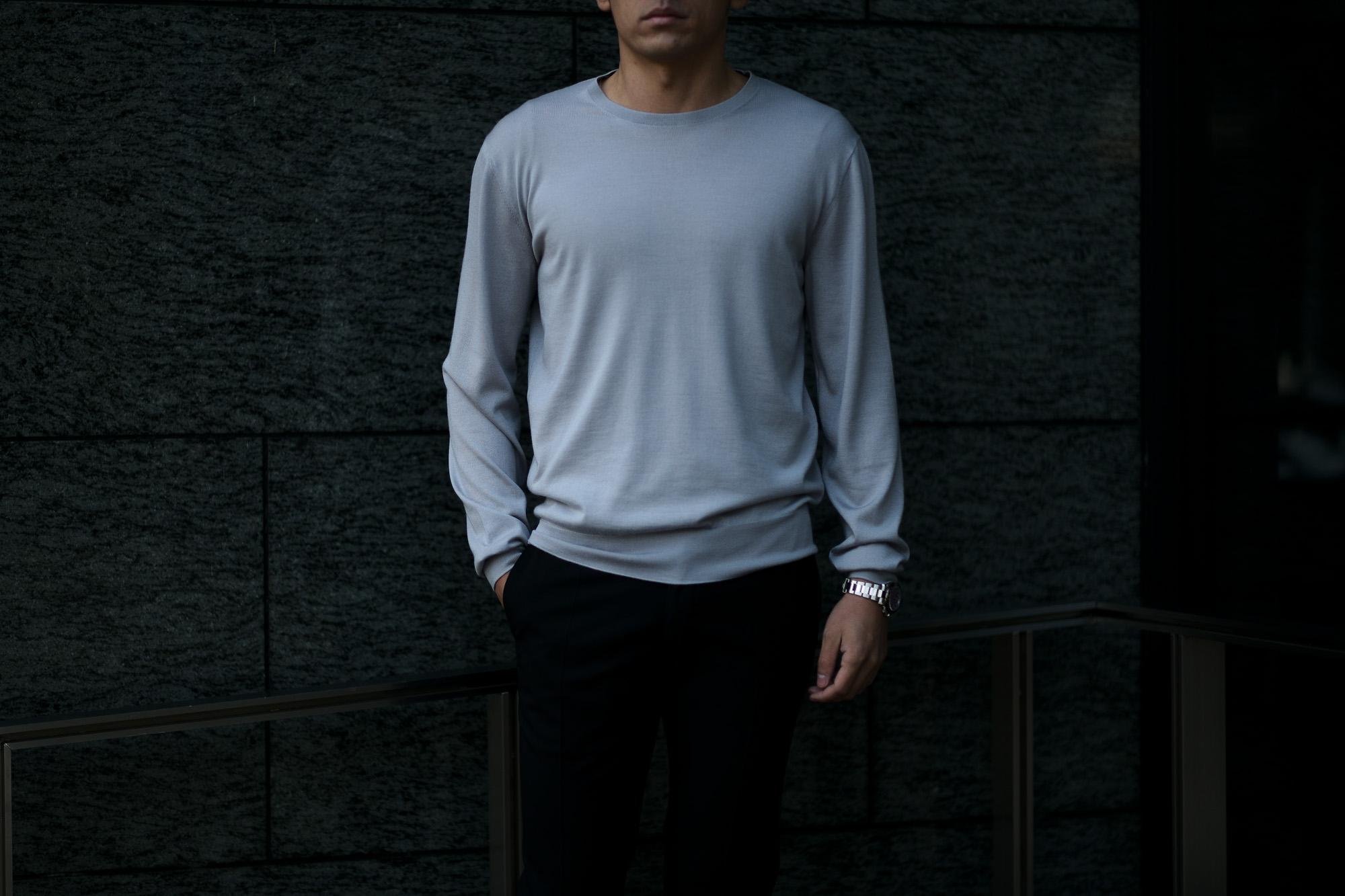 """MANRICO CASHMERE """"Silk Cashmere Wool"""" Crew Neck Sweater M050 0000 BLACK(ブラック),SNOW WHITE(スノーホワイト),DRESS BLUES(ドレスブルー),ROYAL BLUE(ロイヤルブルー),SABLE(グレージュ),GREY STONE(ダークグレー),AZTEC(ブラウン),CAMEL(キャメル),KOMBU GREEN(グリーン),YELLOW(イエロー),GRENADINE(オレンジ),HIGH RISK RED(ハイリスクレッド) MADE IN ITALY(イタリア製) 2020AW マンリコカシミア カシミヤ シルク カシミヤ ウール ニット イタリア製 altoediritto アルトエデリット 愛知 名古屋"""