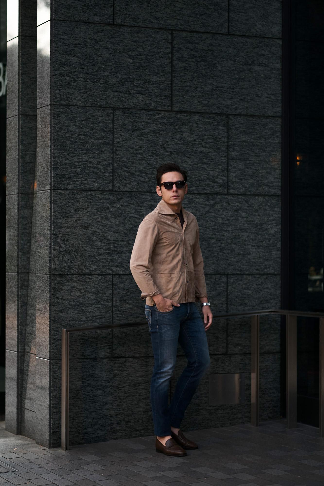 Alfredo Rifugio (アルフレード リフージオ) 20E326HM CAMOSCIO Summer Suede Leather Shirts サマースウェード レザーシャツ BEIGE(ベージュ) made in italy (イタリア製) 2020 春夏 【ご予約受付中】 alfredorifujio アルフレードリフージオ 愛知 名古屋 Alto e Diritto アルト エ デリット alto e diritto アルトエデリット レザージャケット 素肌にレザー 42,44,46,48,50,52
