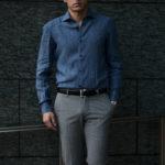 AVINO Laboratorio Napoletano(アヴィーノ・ラボラトリオ・ナポレターノ) Linen Dress Shirts (リネン ドレス シャツ) リネン100% ワイドカラー シャツ BLUE (ブルー) made in italy (イタリア製) 2020 春夏 【ご予約受付中】のイメージ