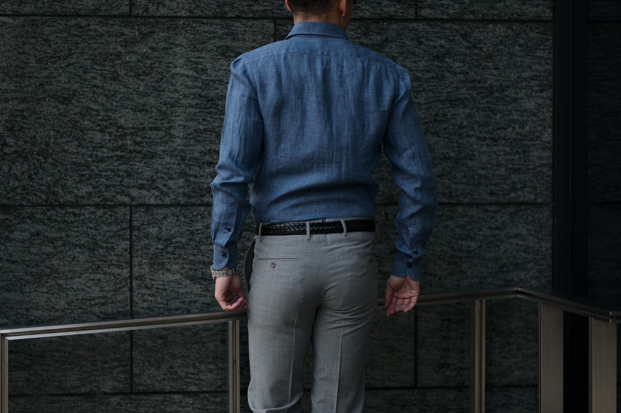 AVINO Laboratorio Napoletano(アヴィーノ・ラボラトリオ・ナポレターノ) Linen Dress Shirts (リネン ドレス シャツ) リネン100% ワイドカラー シャツ BLUE (ブルー) made in italy (イタリア製) 2020 春夏 【ご予約受付中】愛知 名古屋 altoediritto アルトエデリット リネンシャツ