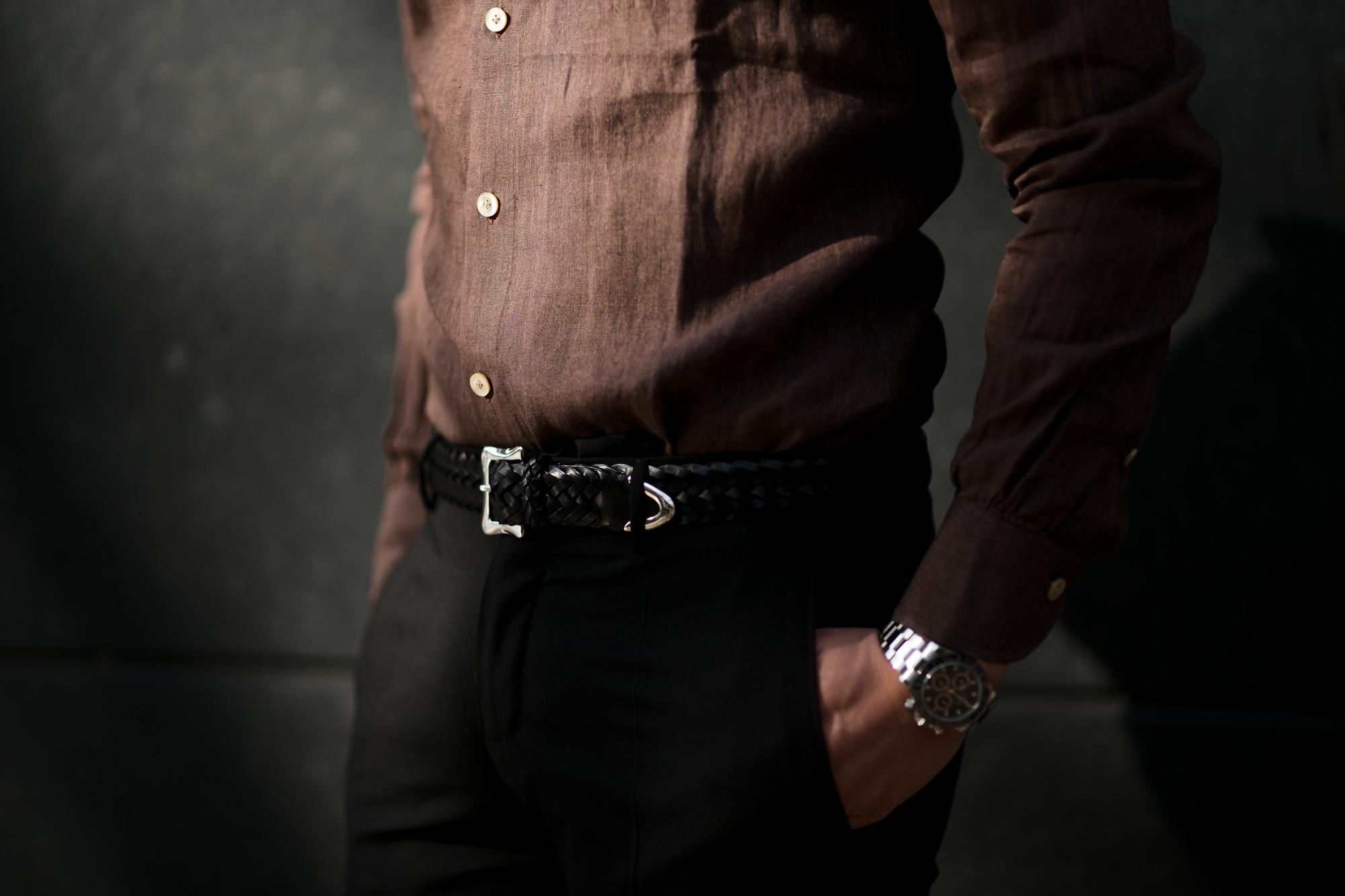 AVINO Laboratorio Napoletano(アヴィーノ・ラボラトリオ・ナポレターノ) Linen Dress Shirts (リネン ドレス シャツ) リネン100% ワイドカラー シャツ BROWN (ブラウン) made in italy (イタリア製) 2020 春夏 【ご予約受付中】 愛知 名古屋 altoediritto アルトエデリット リネンシャツ