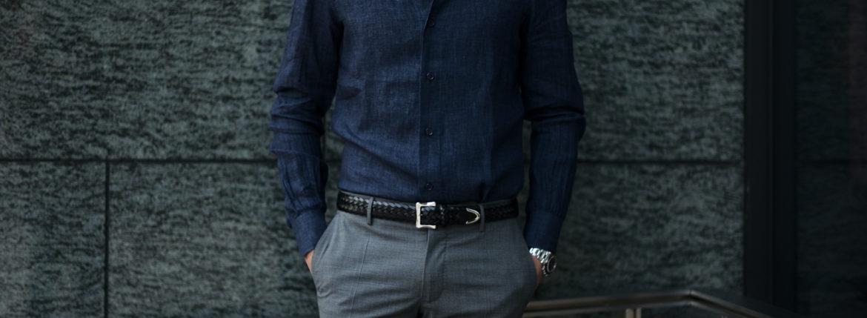 AVINO Laboratorio Napoletano(アヴィーノ・ラボラトリオ・ナポレターノ) Linen Dress Shirts (リネン ドレス シャツ) リネン100% ワイドカラー シャツ NAVY (ネイビー) made in italy (イタリア製) 2020 春夏 【ご予約受付中】のイメージ