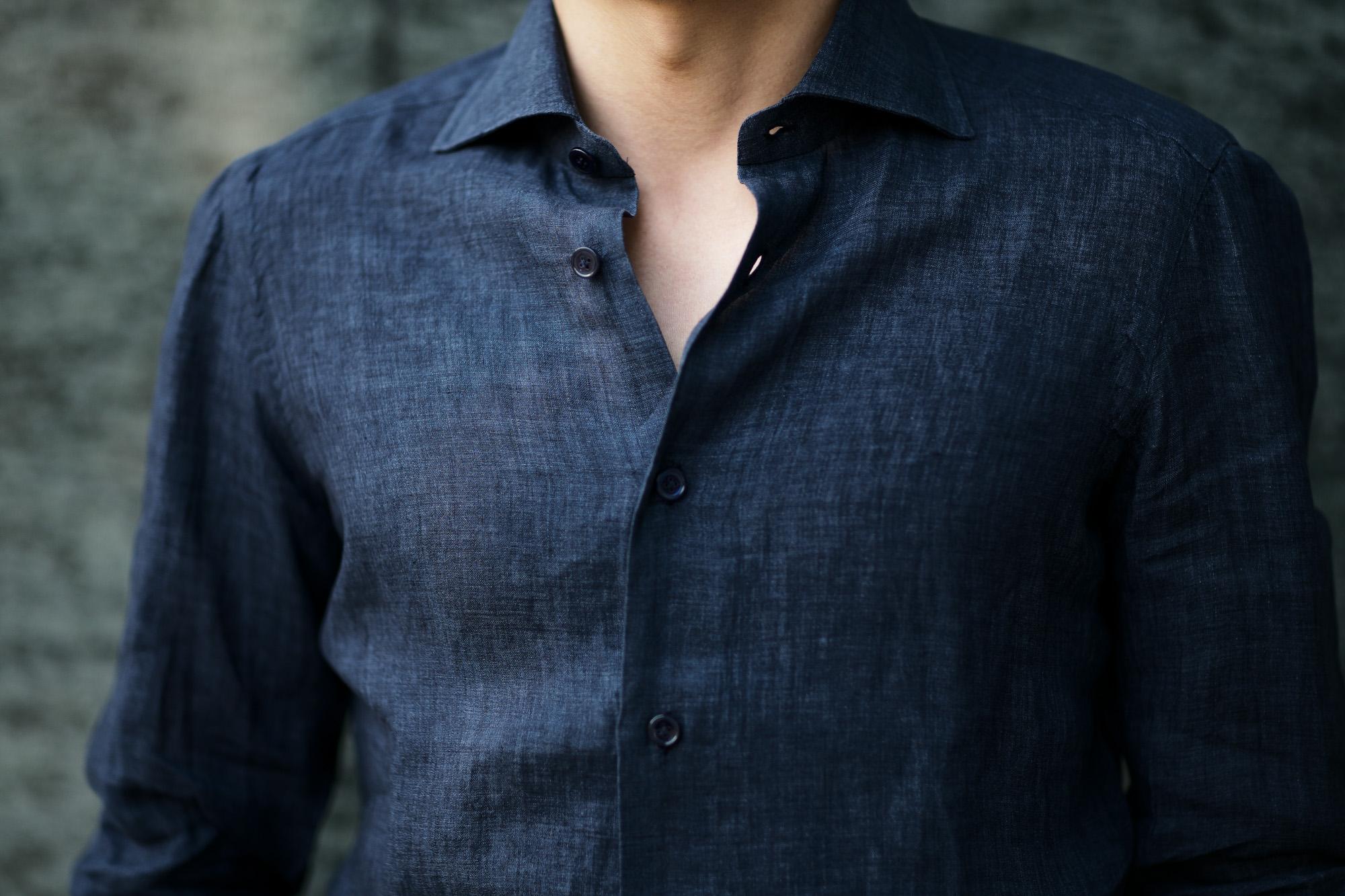 AVINO Laboratorio Napoletano(アヴィーノ・ラボラトリオ・ナポレターノ) Linen Dress Shirts (リネン ドレス シャツ) リネン100% ワイドカラー シャツ NAVY (ネイビー) made in italy (イタリア製) 2020 春夏 【ご予約受付中】愛知 名古屋 altoediritto アルトエデリット リネンシャツ