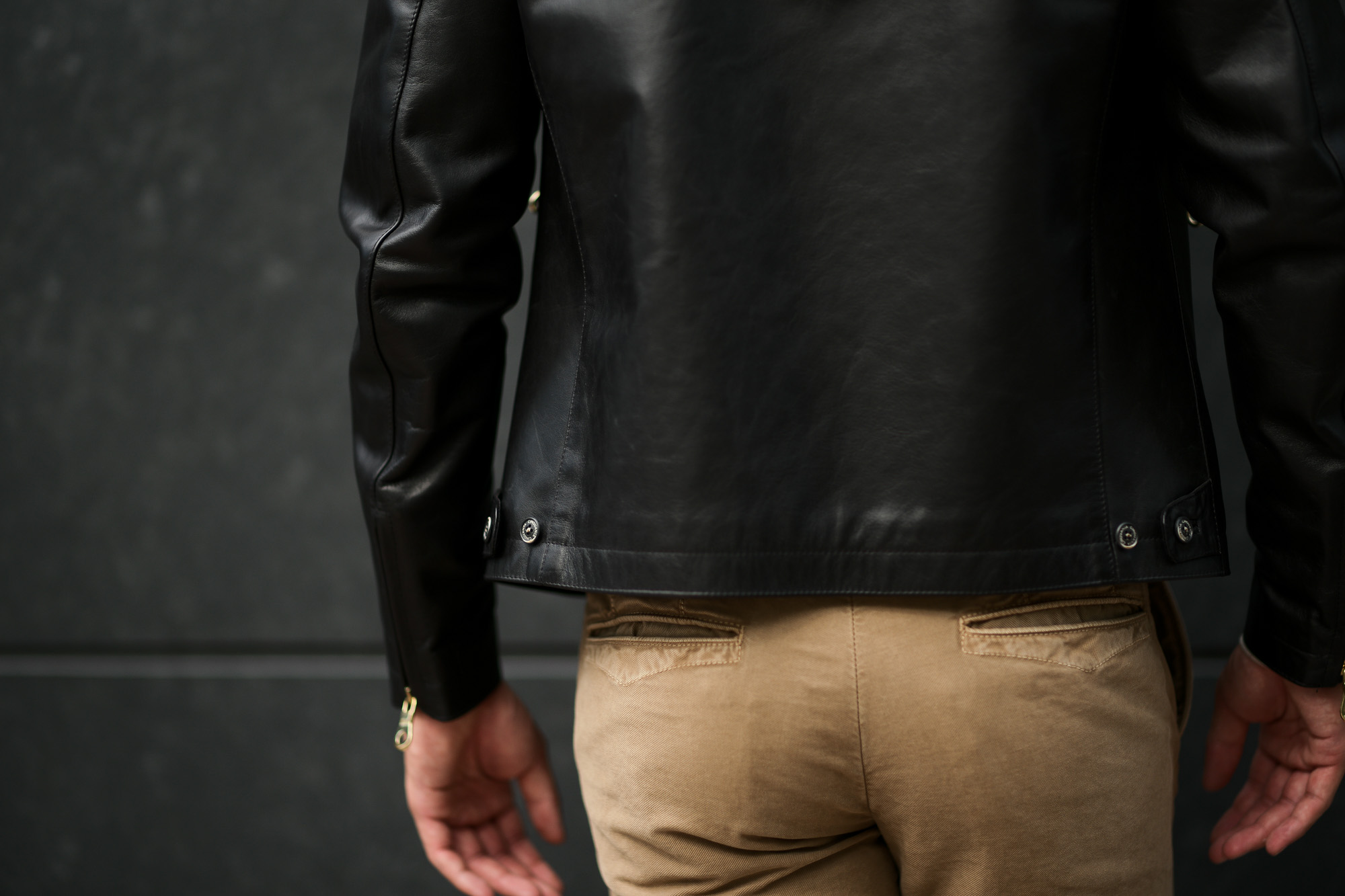 CINQUANTA(チンクアンタ) H502 STAND COLLAR RIDERS CAVALLO (スタンド カラー ジャケット) HORSE LEATHER ホースレザー シングル ライダース ジャケット BLACK GOLD (ブラック ゴールド・999) Made in italy (イタリア製) 2020 cinquanta チンクアンタ レザージャケット 愛知 名古屋 Alto e Diritto アルト エ デリット アルトエデリット