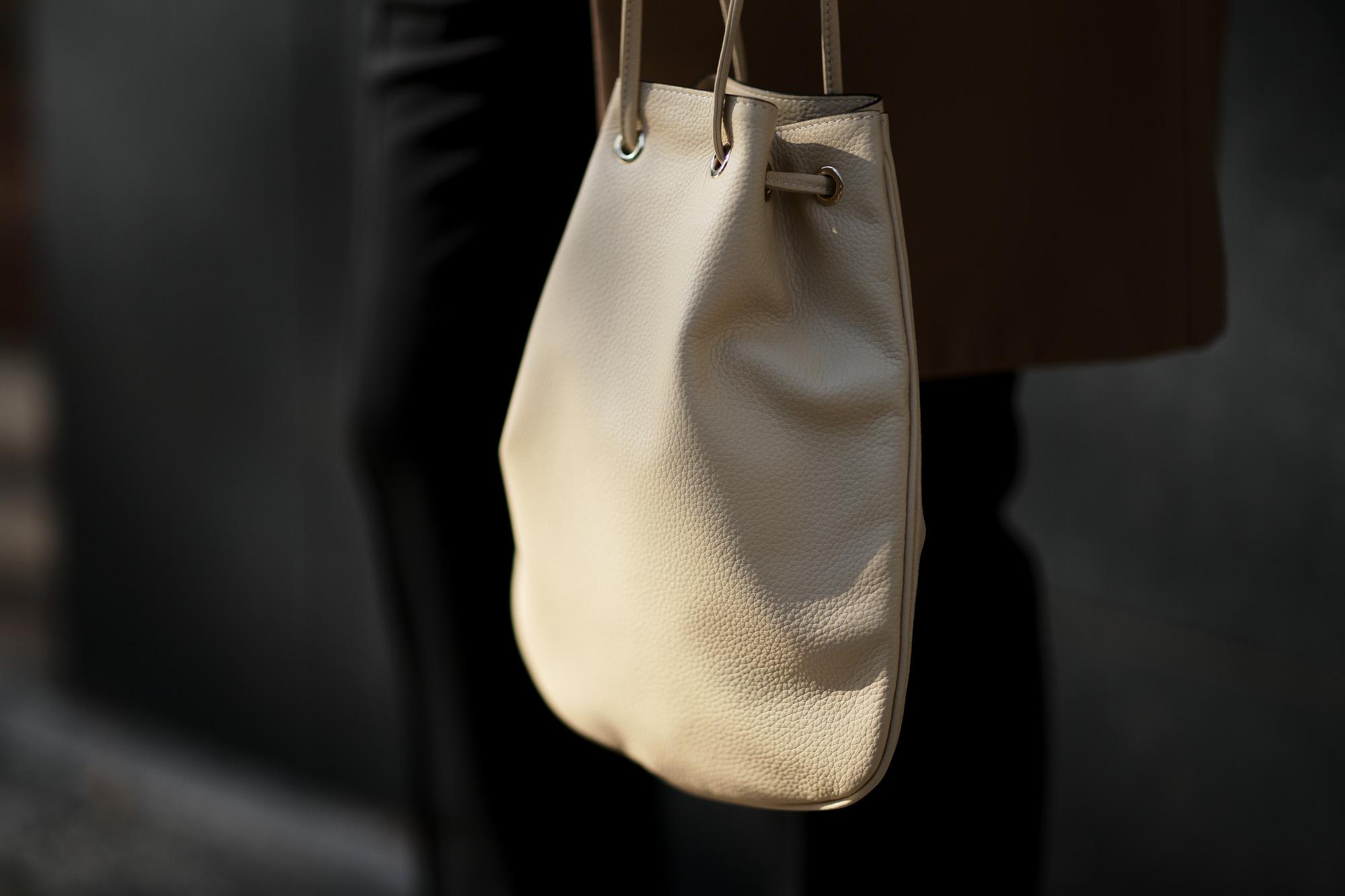Cisei(シセイ) Drawstring Bag (ドローストリングバッグ) Lindos Leather (リンドス レザー) レザードローストリングバック 巾着 BEIGE (ベージュ) Made in italy (イタリア製) 2020春夏新作 愛知 名古屋 altoediritto アルトデリット きんちゃく レザーバック