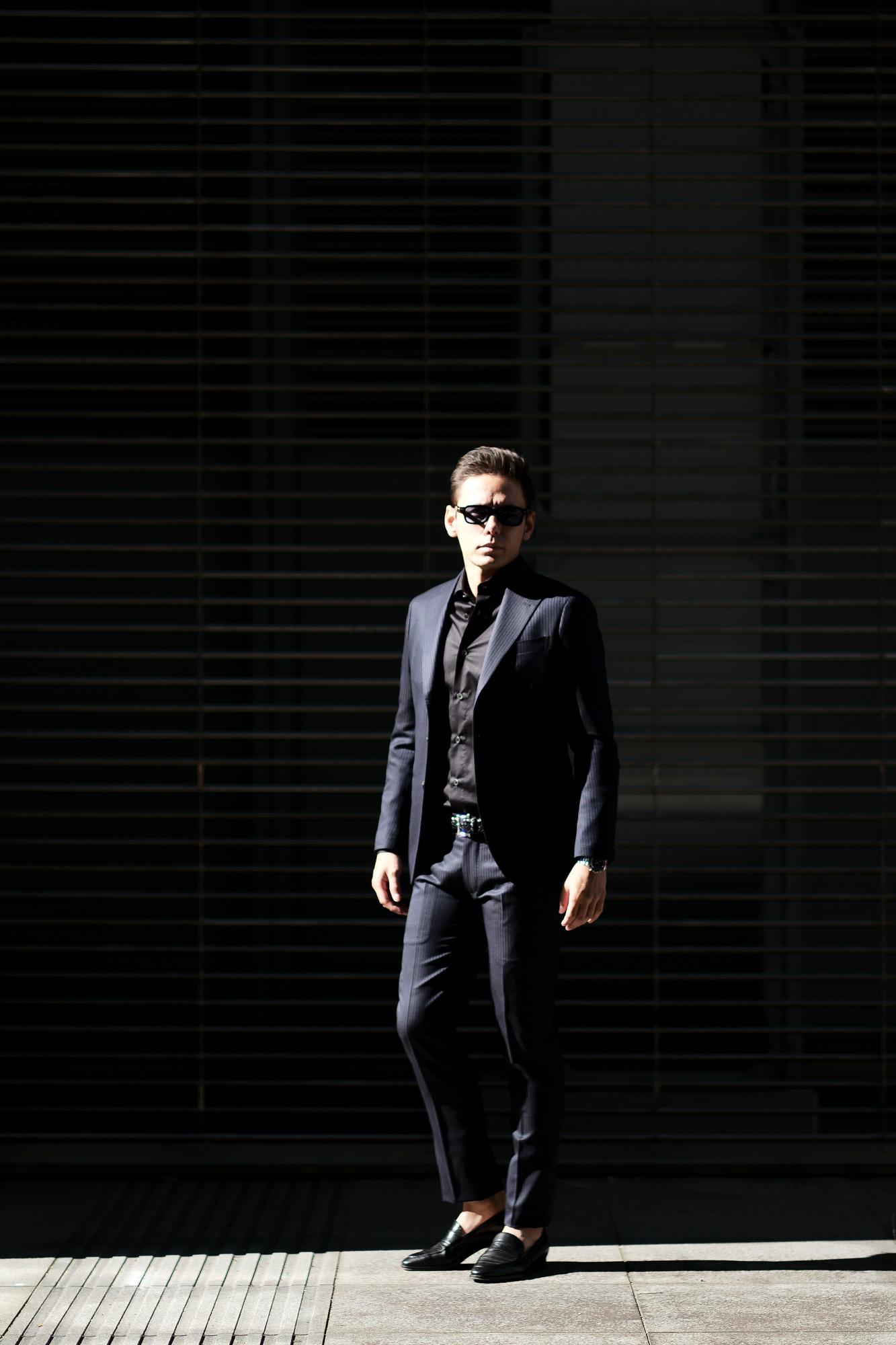 cuervo bopoha(クエルボ ヴァローナ) Sartoria Collection (サルトリア コレクション) Rooster (ルースター) LANVIN (ランバン) ストライプ スーツ NAVY (ネイビー) MADE IN JAPAN (日本製) 2020 【ご予約受付中】愛知 名古屋 altoediritto アルトエデリット オーダースーツ ゼニアスーツ
