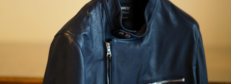 EMMETI(エンメティ) JOSEPH (ジョセフ) Lambskin Nappa Leather ラムナッパ レザー ダブル ライダース ジャケット BLU INDIC (ブルーインディゴ) Made in italy (イタリア製) 2020 春夏新作 【第2便ご予約開始】【2020年4月下旬入荷分】のイメージ