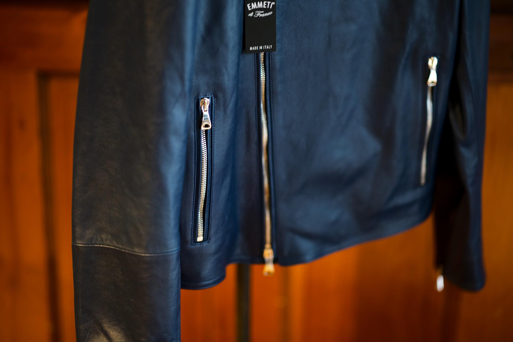 EMMETI(エンメティ) JOSEPH (ジョセフ) Lambskin Nappa Leather ラムナッパ レザー ダブル ライダース ジャケット BLU INDIC (ブルーインディゴ) Made in italy (イタリア製) 2020 春夏新作 愛知 名古屋 altoediritto アルトエデリット レザージャケット