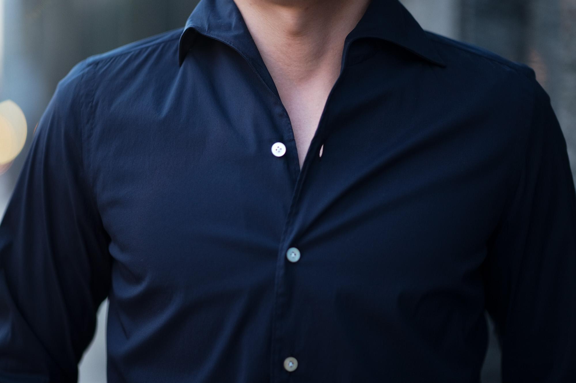 Finamore (フィナモレ) SEUL ITALIAN COLOR STRETCH COTTON SHIRTS ストレッチコットン ワンピースカラー シャツ NAVY (ネイビー) made in italy (イタリア製) 2020 春夏新作 愛知 名古屋 altoediritto アルトエデリット シャツ