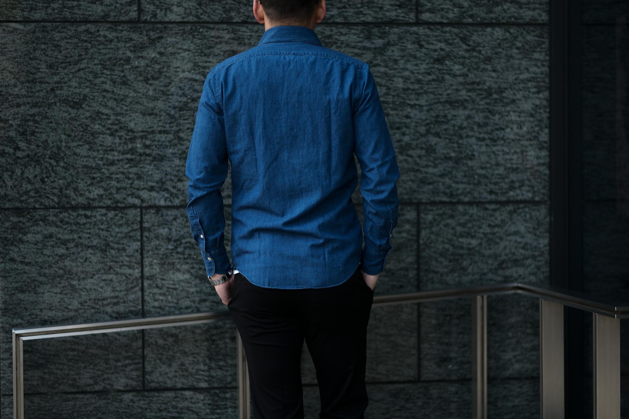 Finamore (フィナモレ) SEUL ITALIAN COLOR DENIM SHIRTS デニム ワンピースカラー シャツ BLEACH (ブリーチ・01) made in italy (イタリア製) 2020春夏新作 愛知 名古屋 altoediritto アルトエデリット デニムシャツ