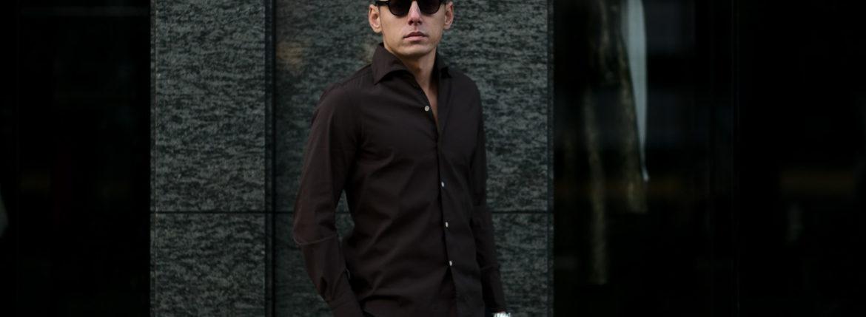 Finamore (フィナモレ) SEUL ITALIAN COLOR STRETCH COTTON SHIRTS ストレッチコットン ワンピースカラー シャツ BROWN (ブラウン) made in italy (イタリア製) 2020 春夏新作のイメージ