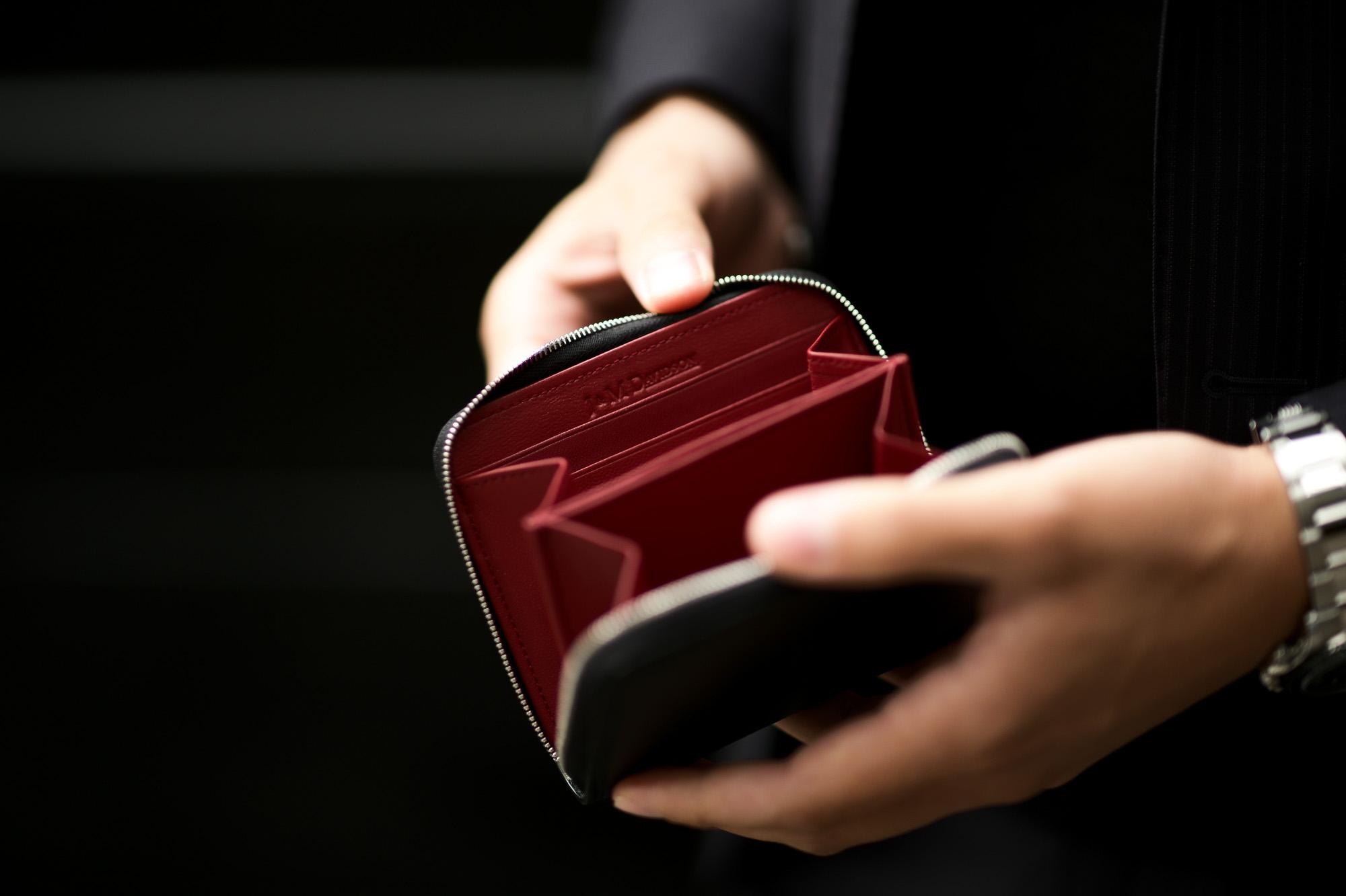 J&M DAVIDSON(ジェイアンドエムデヴィッドソン) SMALL ZIP AROUND PURSE (スモール ジップ アラウンド パース) SAFFIANO (サフィアーノ) レザー ショートウォレット 折財布 BLACK (ブラック・9990) Made in spain (スペイン製)  2020 愛知 名古屋 altoediritto アルトエデリット