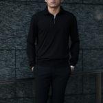 """MANRICO CASHMERE """"Silk Cashmere Wool"""" Polo Halfzip Sweater M050 0004 BLACK(ブラック),SNOW WHITE(スノーホワイト),DRESS BLUES(ドレスブルー),ROYAL BLUE(ロイヤルブルー),SABLE(グレージュ),GREY STONE(ダークグレー),AZTEC(ブラウン),CAMEL(キャメル),KOMBU GREEN(グリーン),YELLOW(イエロー),GRENADINE(オレンジ),HIGH RISK RED(ハイリスクレッド) MADE IN ITALY(イタリア製) 2020AWのイメージ"""