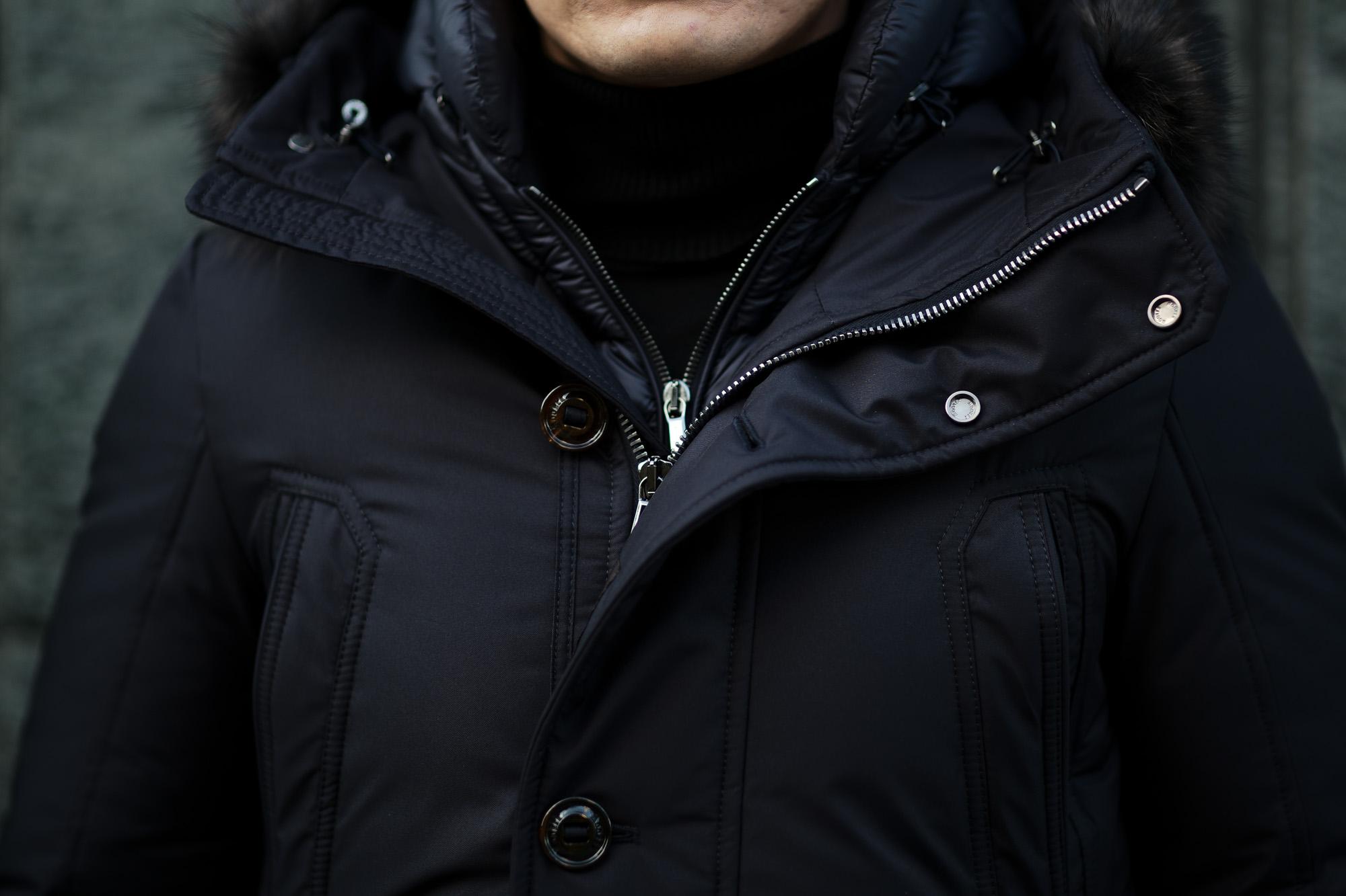MOORER (ムーレー) HELSINKI (ヘルシンキ) ホワイトグースダウン ナイロン フーデッド ダウンコート NERO(ブラック・08)  Made in italy (イタリア製) 2020 秋冬 【ご予約受付中】愛知 名古屋 altoediritto アルトエデリット