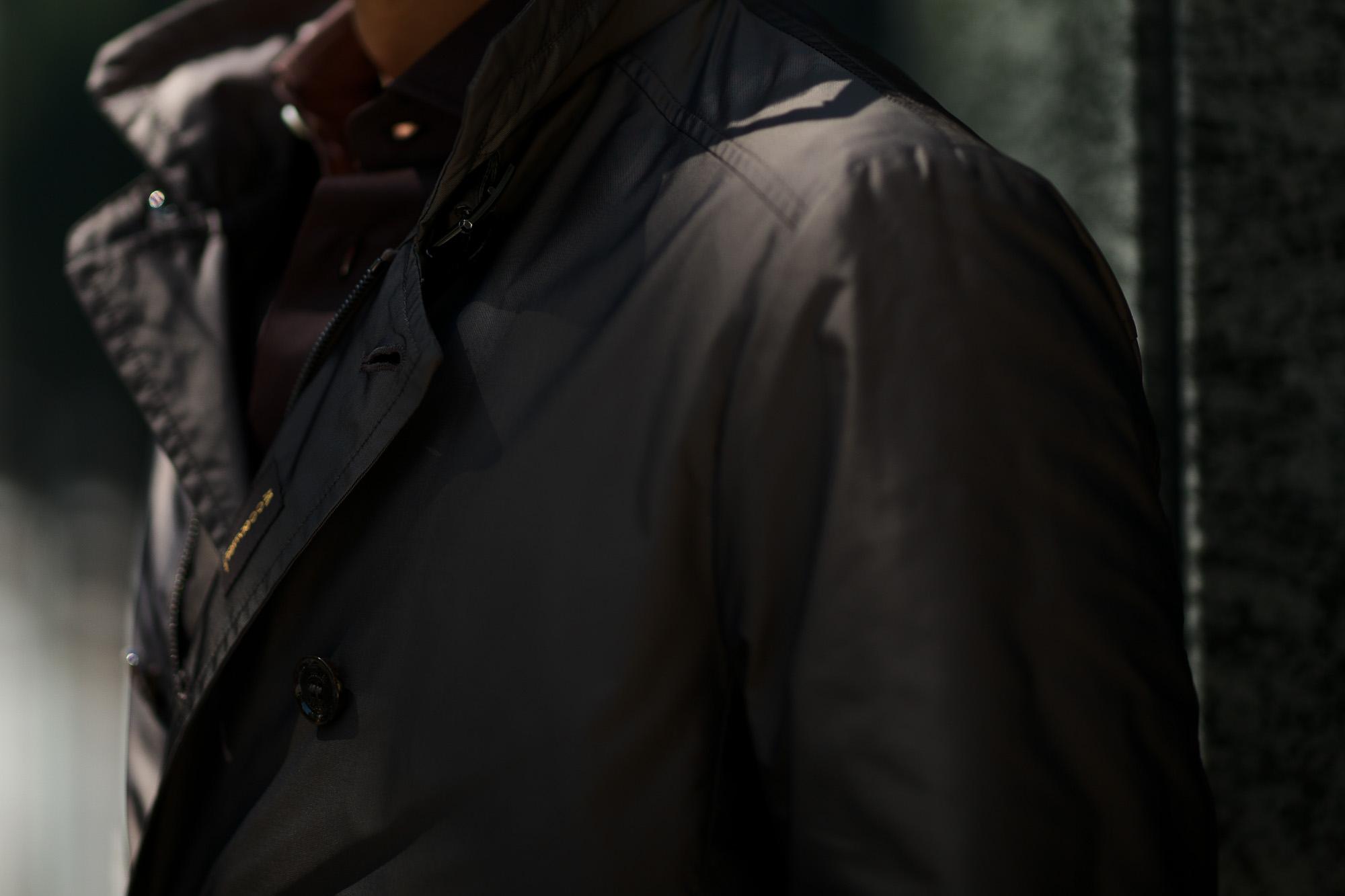 MOORER(ムーレー) MORANDI-KM1(モランディ KM1) 258-11838 ポリエステル ダブルブレスト スタンドカラー スプリング コート NERO(ブラック・08) Made in italy (イタリア製)  2020春夏 【ご予約受付中】愛知 名古屋 altoediritto アルトエデリット