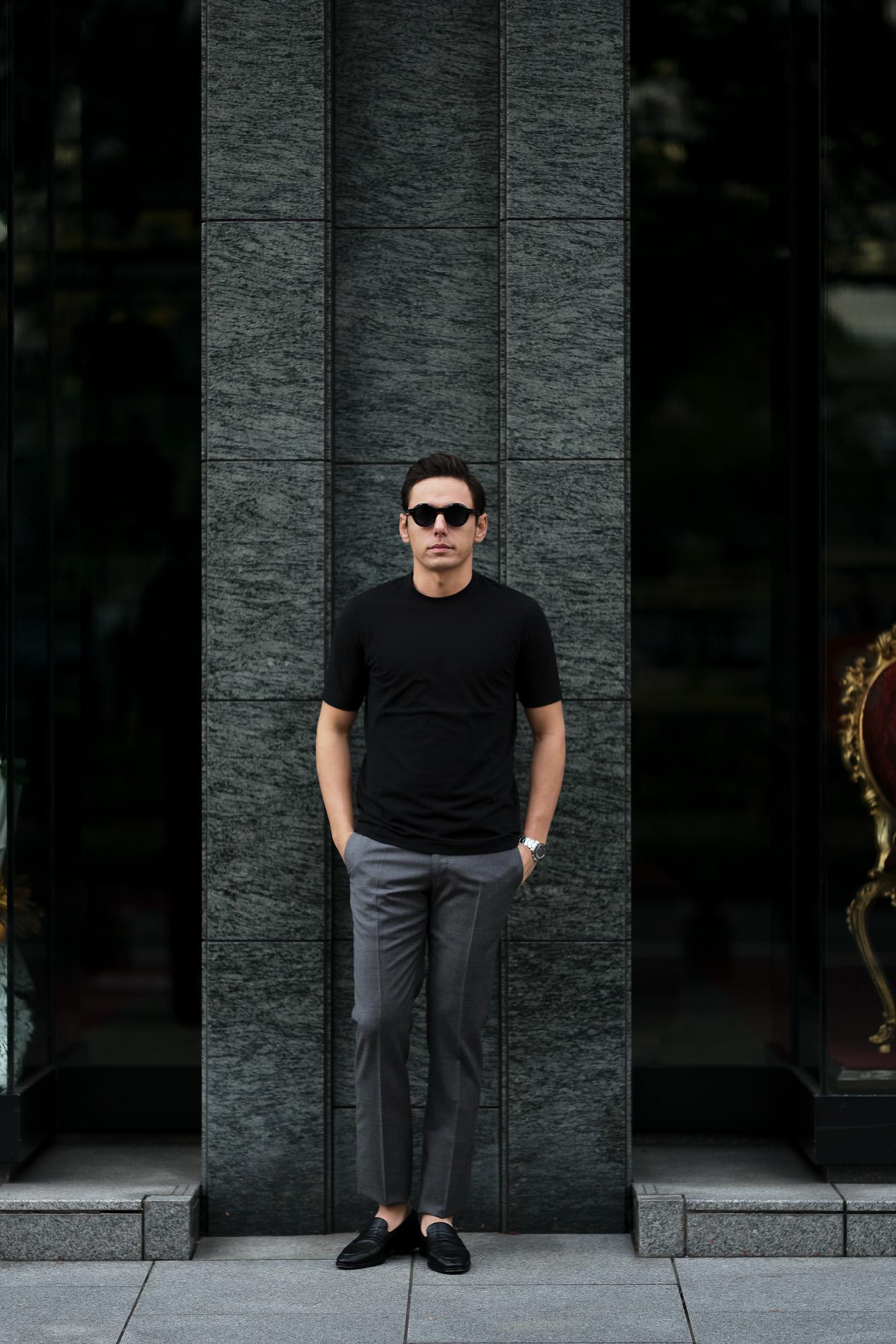 ZANONE(ザノーネ) Crew Neck T-shirt (クルーネックTシャツ) ice cotton アイスコットン Tシャツ BLACK (ブラック・Z0015) MADE IN ITALY(イタリア製) 2020 春夏 【ご予約受付中】愛知 名古屋 altoediritto アルトエデリット tee 夏Tシャツ