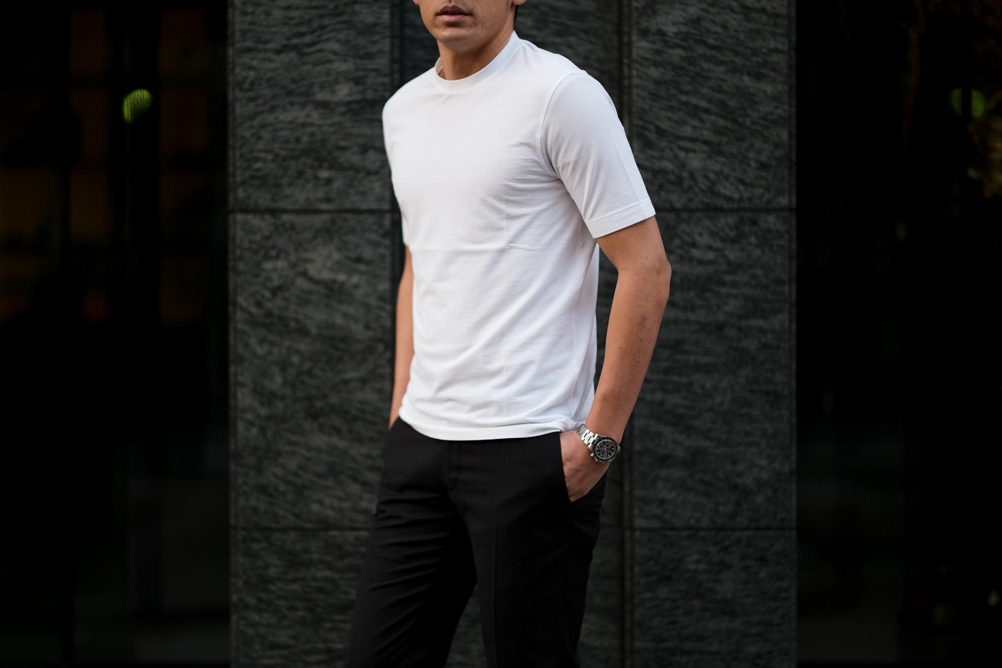 ZANONE(ザノーネ) Crew Neck T-shirt (クルーネックTシャツ) ice cotton アイスコットン Tシャツ WHITE (ホワイト・Z0001) MADE IN ITALY(イタリア製) 2020 春夏 【ご予約受付中】愛知 名古屋 altoediritto アルトエデリット tee 夏Tシャツ