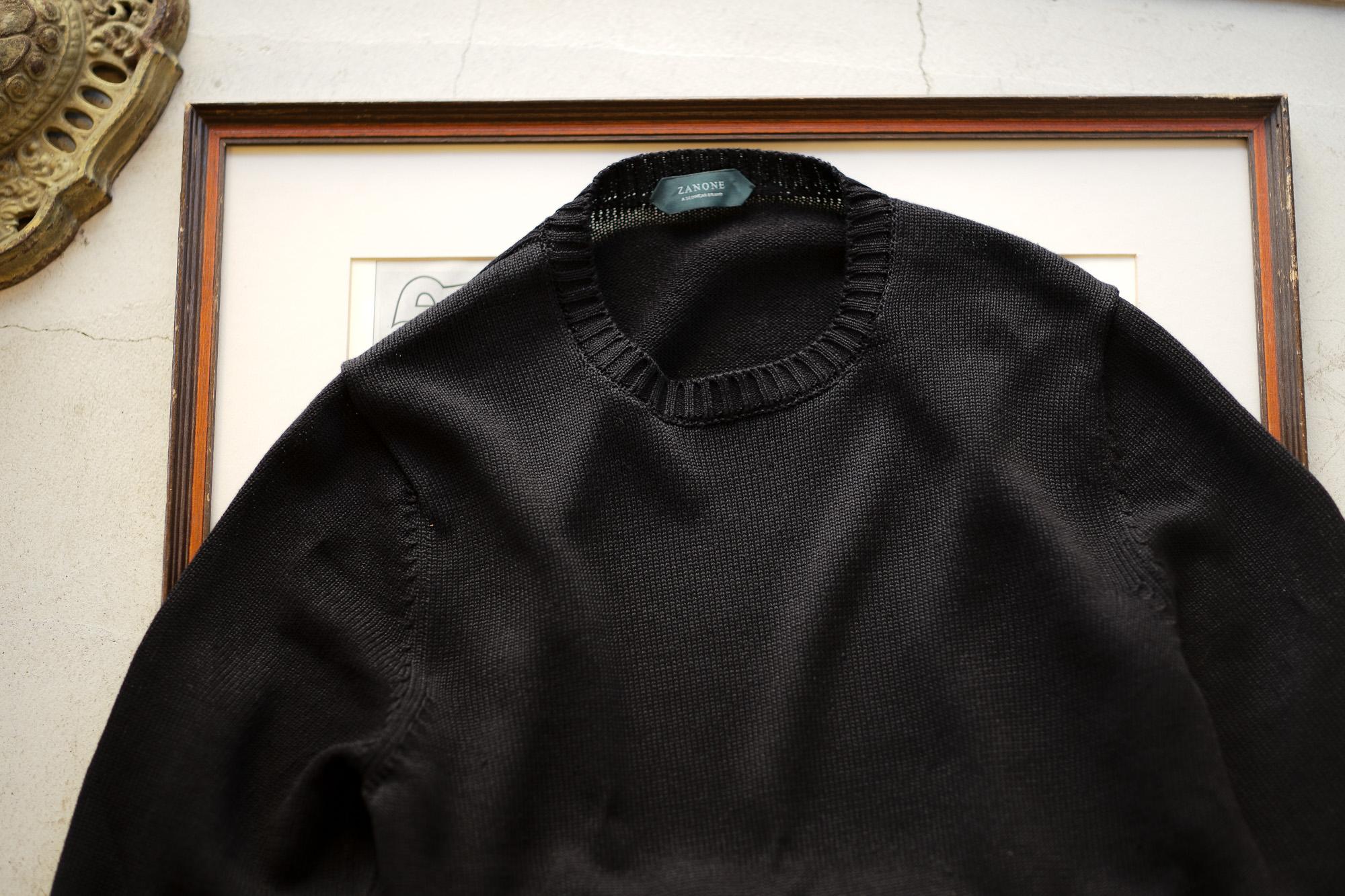 ZANONE(ザノーネ) Crew Neck Sweater (クルーネック セーター) リネンコットン ミドルゲージ サマー ニット セーター BLACK (ブラック・Z0015) made in italy (イタリア製) 2020 春夏新作 愛知 名古屋 altoediritto アルトエデリット
