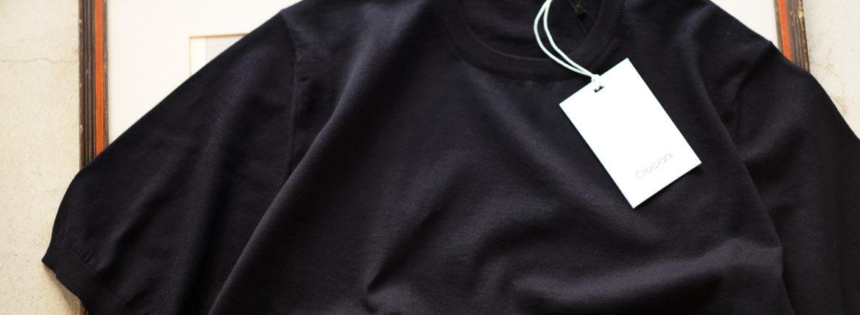 Cruciani(クルチアーニ) 33G Knit T-shirt 33ゲージ コットン ニット Tシャツ NAVY (ネイビー・Z0064)  made in italy (イタリア製) 2020 春夏新作  【入荷しました】【フリー分発売開始】のイメージ